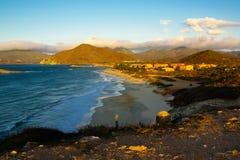 Baai in Isla DE Margarita in zonsondergangtijd Royalty-vrije Stock Foto's