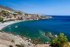 Baai met een strand op het Eiland Kreta Stock Afbeeldingen