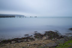 Baai met lange blootstelling van mos op grijze dag Stock Afbeeldingen