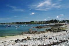 Baai op de kust van Bretagne Stock Foto