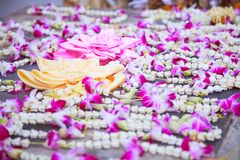 Baai Sri Trays and Flower Garlands offering in Thai Buddhism Brahman ceremony to console people's life spirit to return to body. And be expression of stock photography