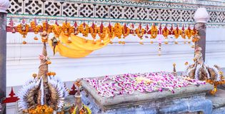 Baai Sri Trays and Flower Garlands offering in Thai Buddhism Brahman ceremony to console people's life spirit to return to body. And be expression of stock photos