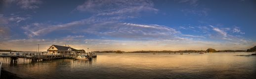 Baai van Eilandenpanorama, Paihia, Nieuw Zeeland royalty-vrije stock foto