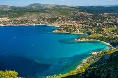 Baai van Kooi D ` Azur en het dorp van La Ciotat Royalty-vrije Stock Fotografie