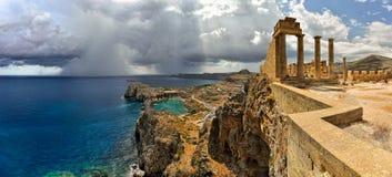 Baai van Lindos - Rhodes Island, Griekenland Stock Afbeeldingen