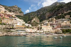 Baai van Positano Italië Stock Foto's