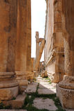 Baalbeck, Lebanon. Famous Roman Columns at Ancient Roman Archaeological Site, Baalbeck, Lebanon with graffiti written by ancient tourists from the 1800's in both Stock Photo
