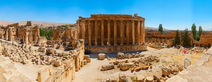 Baalbek Ancient city in Lebanon.Panorama. Baalbek Ancient city in Lebanon.Heliopolis temple complex.near the border with Syria.Panorama.remains Royalty Free Stock Photography