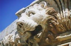 Baalbek - detail (leeuwhoofd) royalty-vrije stock foto