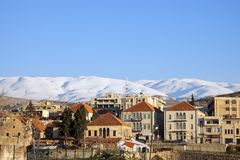 Baalbek panorama with snowy mountains Stock Photography