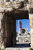 Baalbek ruins - columns seen in the ancient window Stock Photography