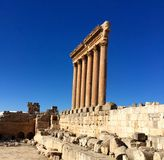 Baalbek UNESCO World Heritage Site, the remaining columns of the Temple of Jupiter. Stock Photo