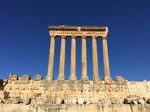Baalbek UNESCO World Heritage Site, the remaining columns of the Temple of Jupiter. Royalty Free Stock Images