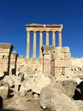 Baalbek UNESCO World Heritage Site, the remaining columns of the Temple of Jupiter. Royalty Free Stock Photos