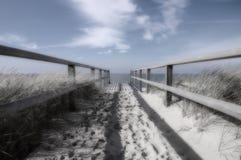 Baan aan oceaan zwart-wit en blauw Stock Fotografie