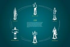 Baan - chirurg, bezorger, arts, zakenman, bouwer, reeks van het onderneemster de vectorconcept royalty-vrije illustratie