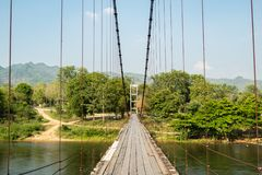 Baan Haad Ngio Hangers Bridge, Wang Krachae Subdistrict, Kanchanaburi City, Thailand - 21 April 2019 royalty free stock images