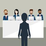 Baangesprek in bureau Ambtenaren en kandidaat vector illustratie
