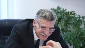 Baangesprek - gelukkige recruiter het schudden hand met kandidaat stock video