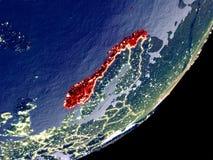 Baanmening van Noorwegen bij nacht vector illustratie