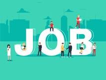 Baanonderzoek en rekrutering het huren Werkgelegenheid voor freelance banen, carrièreconcept Vlakke vectorillustratie royalty-vrije illustratie
