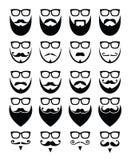 Baard en glazen, hipster geplaatste pictogrammen Royalty-vrije Stock Foto