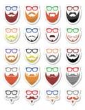 Baard en glazen, hipster geplaatste pictogrammen Royalty-vrije Stock Foto's