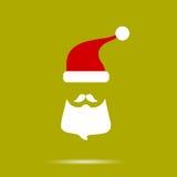 Baard Santa Claus op een gele achtergrond Met schaduw Nieuw jaar Royalty-vrije Stock Afbeeldingen