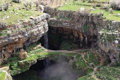 Baatara Sinkhole and Waterfall, Lebanon Stock Image