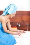 Baautiful woman in bathroom Royalty Free Stock Photos
