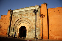 Bab Agnaou in Marrakesh, Morocco. Bab Agnaou, one of the nineteen historic gates of old Marrakech, Morocco. It was built in the 12th century in the time of the Stock Photo