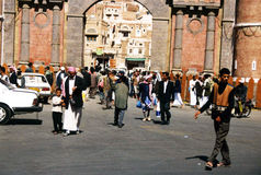 Bab al-yemen. People under the main gate of sana in yemen bab al-yemen Stock Image