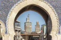 The Bab Bou Jeloud or Blue Gate, the main entrance into the old medina, Fes el Bali. In Fez, Morocco. The Moorish-style gate was built in 1913 Royalty Free Stock Photography