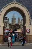 Bab Bou Jeloud, the Blue Gate, the main gated entrance to the old UNESCO protected Medina of Fez El Bali, a world heritage stock photo