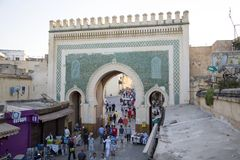 Bab Bou Jeloud gate (Blue Gate) in Fez, Morocco Stock Photos
