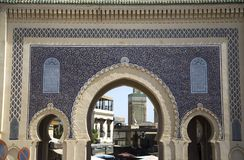 Bab Bou Jeloud gate (Blue Gate) in Fez, Morocco Stock Photography