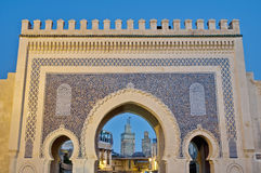 Bab Bou Jeloud Gatter in Fez, Marokko Lizenzfreies Stockfoto
