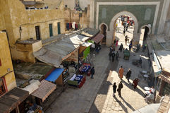 Bab Boujeloud Gate in Fez, Morocco royalty free stock photos