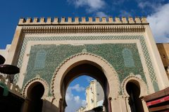 Bab Boujloud, or the Blue Gate. Fes. Morroco. Bab Bou Jeloud gate The Blue Gate located at Fez, Morocco Royalty Free Stock Photography