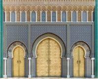 Bab Dar Lmakhzen或王宫门在Fes,摩洛哥 免版税库存图片