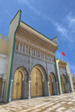 Bab Dar Lmakhzen或王宫门在Fes,摩洛哥 库存照片