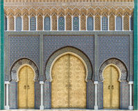 Bab Dar Lmakhzen or the Royal Palace Gate in Fes, Morocco. Bab Dar Lmakhzen or the Royal Palace Gate erected in the 1960's, as the surrounding wall of the Royalty Free Stock Image