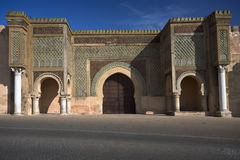 Bab el-Mansour. Morocco. Meknes. The Bab el-Mansour gate decorated with very impressive zellij (mosaic ceramic tiles Stock Photo