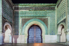 Bab Mansour Gate. The Bab Mansour in Meknes, Morocco at night. Gate Bab Mansour Gate named after the architect, El-Mansour. Gate Bab Mansour is a main gate in Royalty Free Stock Images