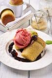 Baba au Rhum with Ice Cream Royalty Free Stock Photo