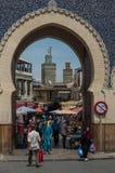 Baba Bou Jeloud Błękitna brama magistrala zakazywał wejście ol zdjęcie stock