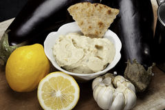 Baba Ganoush. With eggplants, lemons and garlic Royalty Free Stock Image