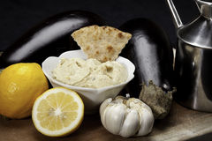 Baba Ganoush. With eggplants, lemons and garlic Royalty Free Stock Photography