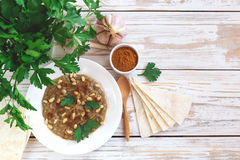 Baba ganoush - traditional arabian eggplant dip with flat bread Stock Images