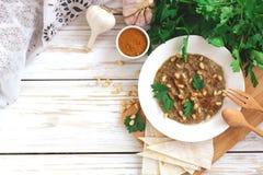 Baba ganoush - traditional arabian eggplant dip with flat bread Royalty Free Stock Photography
